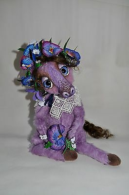 OOAK Mohair Stuffed Art Sculpture Fantasy Animal Horse, BJD Blythe Doll Friend