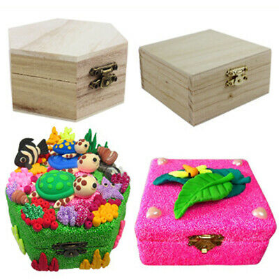 Unfinished Wood Box Wooden Gift Boxes DIY Base for Kids Toys Craft Woodcrafts