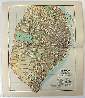 Original 1887 Street & Railroad Map / Plan of St. Louis, MO by Phillips & Hunt