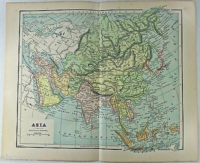 Original 1885 Map of Asia by Phillips & Hunt