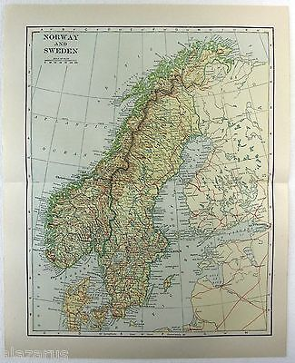 Original 1914 Map of Norway & Sweden by L. L Poates