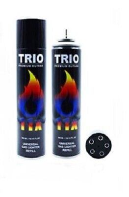 Gas 300ml Trio 11x Refined Lighter Refill Jet Blow Torch Fuel BBQ x 3 Bottles