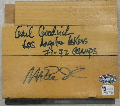 Magic Johnson Gail Goodrich Dual Hand Signed Autograph Game Used Forum Floor 5X6