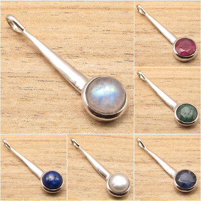 Necklace Pendant ! 925 Silver Plated MOONSTONE & Other STONE Variation SEE MORE