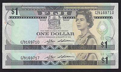 Fiji One Dollar $1 Banknotes 1983 P-81a Barnes & Siwatiban Pair of Notes