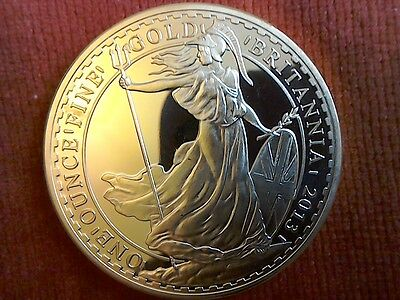 24k Gold plated Britannia £100 coin, (reproduction).