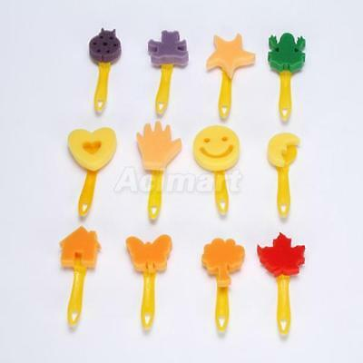 12PcsSet Sponge Art Painting Brushes Stamp Seal Watercolor Paint for Kids