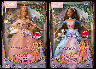 Erika Barbie Doll Anneliese Princess and the Pauper Singing Works Cats Lot 2 VG