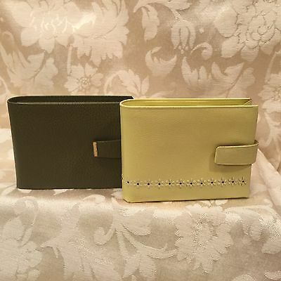 "Vtg,2 Lot,amity Yellow Daisy Bi-Fold Leather Wallet Directress Billfold ""clean"""