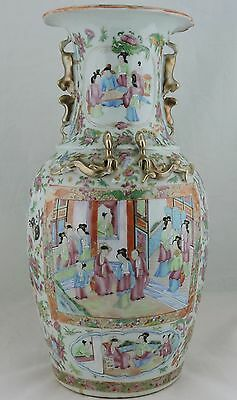 """Chinese Vase Rose Medallion Famille Mandarin Figurines Painted 17"""" Tall Gold"""