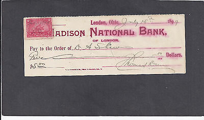 1899 Madison National Bank,london,oh W/ Documentary Stamp