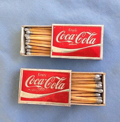 1960's Vintage (2) COCA-COLA Silver/Red MATCHBOXes with Wooden Matches - Italy