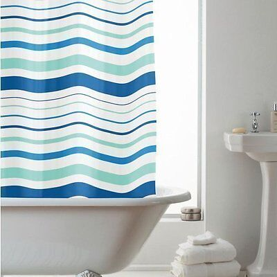 Blue Stripes 180Cm Long Peva Shower Curtain Screen With 12 C Shaped Rings Beamfe
