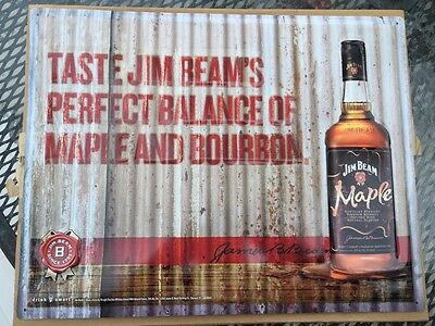 JIM BEAM MAPLE METAL TIN SIGN 14x18 NEW FOR BAR OR MAN CAVE