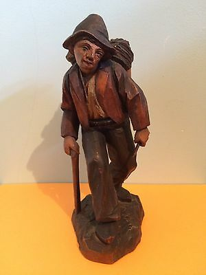 Antique hand carved wooden figure of a man Black Forest Swiss carving