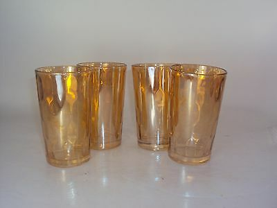 Jeannette Hex Optic Iridescent Honeycomb Juice Glasses Depression Tumblers Set 4