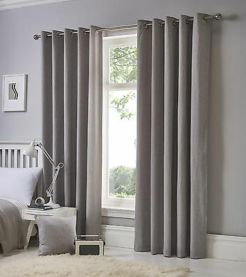 Fusion Sorbonne Plain Silver 100% Cotton Eyelet Lined Kids Children's Curtains