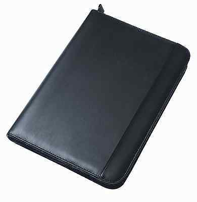 A4 Conference Portfolio Presentation Folder Folio Leather Zip Pads Ring Binder