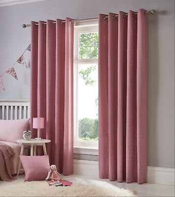Sorbonne Plain Blush Pink Heavy Cotton Eyelet Lined Kids Children's Curtains