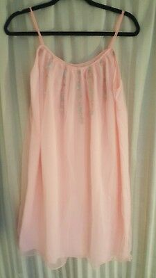 Vintage 60s Avian Pink Double Layer Chiffon Babydoll Nightgown Gown Negligee L