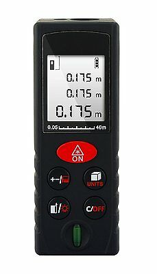 Welltop Handheld 40m /131ft Laser Distance Measurer Digital Range Finder Laser &