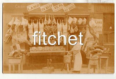 Antique RPPC Unlocated Butcher's Shop Front & Staff with Display of meat