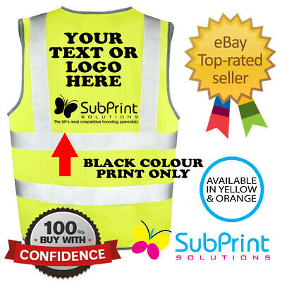 EN471 Workwear Personalised Printed Hi Vis Safety Vest - Any Logo,name or text