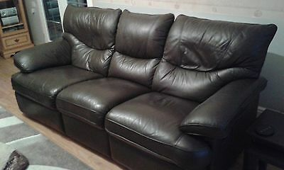 Brown Leather 3 piece suite manual recliners