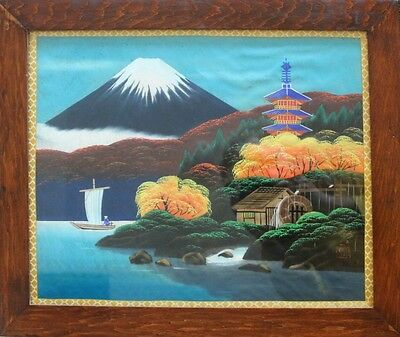 Vtg 1960 Japanese Painting Art Silk Signed Pagoda Lake Trees Mount Mt Fuji