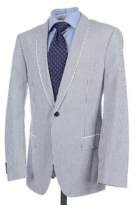 569c67cbbf6 HUGO BOSS Recent White Gray Seersucker Stripe SHAWL LAPEL Jacket Pants SUIT  40 R