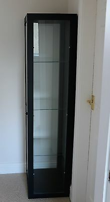 Single Door Black Glass Display Cabinet Collectables Case Storage Unit