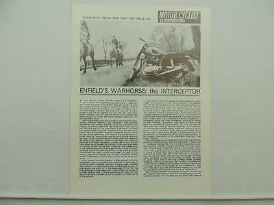 Vintage 1969 Motor Cyclist Illustrated Reprint Royal Enfield Interceptor L7111