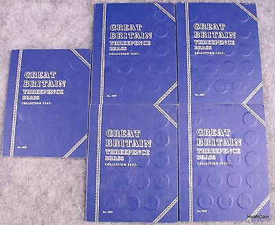 Lot of 5 Great Britain Threepence Brass Collection 1937- Partial Whitman Books
