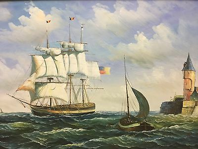 Vintage Nautical Impressionist Oil On Canvas Seascape Painting Signed K Dossy
