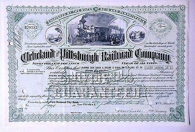 U.S. Railroad stock Certificate,Cleveland & Pittsburgh Railroad Company.