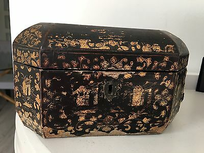 19 century black lacquer export chinese sewing box octagonal
