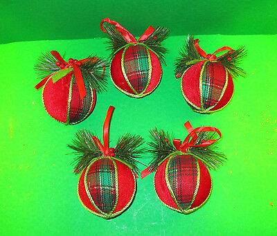 Lot of 5 Primitive Country Christmas Ball Tree Ornaments