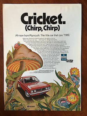 Vintage 1971 Original Print Ad Chrylser-Plymouth CRICKET ~Chirp, Chirp~