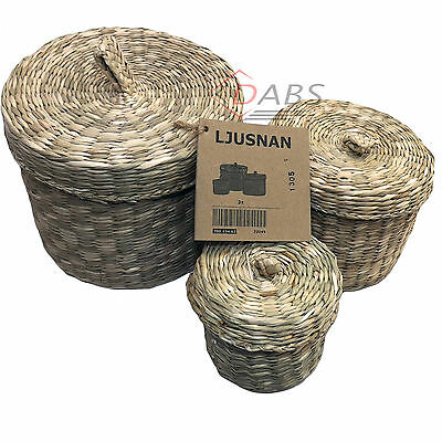 IKEA Ljusnan Set of 3 Handmade Seagrass Baskets & Lids Bathroom Storage Boxes