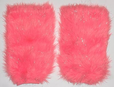 EUC Justice Girl's Pink Fuzzy Furry Sparkly Faux Fur Leg Warmers Boot Covers