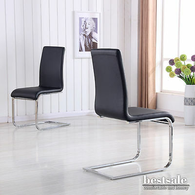 New 2 Black Faux Leather High Back Dining Chairs Chrome Legs Dining Room Chairs
