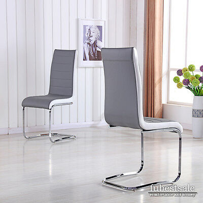 New 2 Grey Faux Leather High Back Dining Chairs Chrome Legs Dining Room Chairs