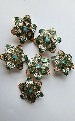 A SET OF6 LATE 19th Cent. FRENCH GILT & CHAMPLEVE ENAMEL BUTTONS. FLOWER SHAPE.