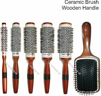 Round Hair Brush Ceramic Wooden Handle Head Jog Hair Tools ALL TYPES STOCKED