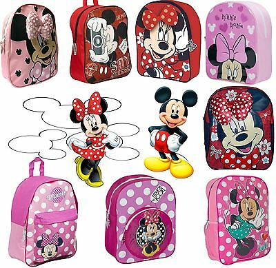 Official Disney Minnie & Mickey Mouse School Bag Rucksack Backpack Boys Girls