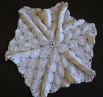 "A  VINTAGE MACRAME  LACE STYLE COASTERS  ECRU App 11""  USED   CL8"