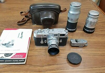 Leica M3 Single Stroke 35Mm Rangefinder Camera With 3 Lenses
