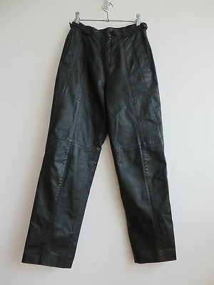"""Vintage 80s black leather trousers, high-waisted & tapered, S/26-27"""" W"""