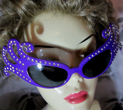 Big Purple Novelty PARTY GLASSES WITH BLING EYES Halloween Fun NIP