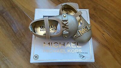 Baby Girls Michael kors gold pram shoes, size 0-3 mths, New, 100% Authentic.